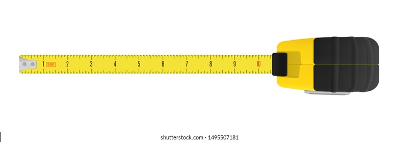 Yellow carpenter measuring tape with an imperial units scale