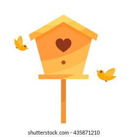 Yellow Cartoon birdhouse on a white background with two birds. Isolate. Bird house with 