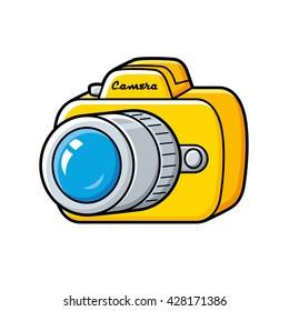 Yellow cartoon camera isolated.