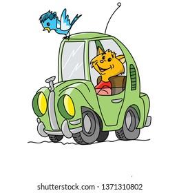 Yellow cartoon cat driving a green retro car vector illustration