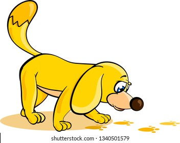 Yellow cartoon dog is focused on sniffing out tracks. Isolated vector illustration on white background.