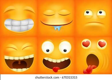Yellow cartoon emoticon square icons set. Vector illustration
