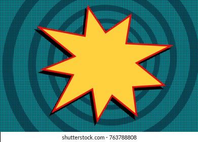 yellow cartoon explosion on a blue background. Pop art retro vector illustration
