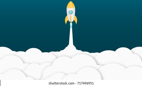 Yellow cartoon rocket. Background for your projects. White cloud of smoke. Advertising poster for the site. Vector illustration in a flat style