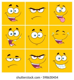 Yellow Cartoon Square Emoticons With Expression Set 2. Vector Collection Isolated On White