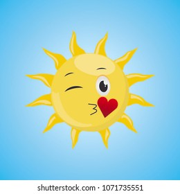 Yellow Cartoon Symbol Sun sending an air kiss. Vector illustration, isolated on blue background. Cute smiling sun icon. Vector Graphics EPS 10