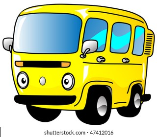 A yellow cartoon vanette