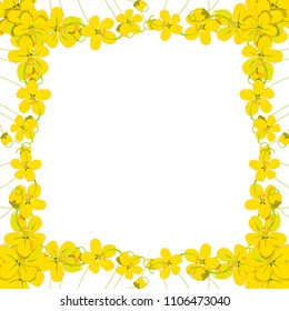 Yellow Cassia Fistula - Golden Shower Flower Border on White Background with copy space. Vector Illustration.