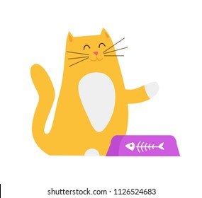 Yellow cat asking for food raising one paw in air, smiling happy to see masters, pet sitting by bowl with fish skeleton image, vector illustration