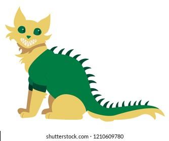 Yellow cat dressed in Godzilla halloween costume
