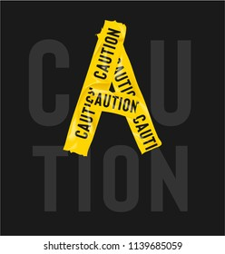 yellow cation tape forming caution word illustration