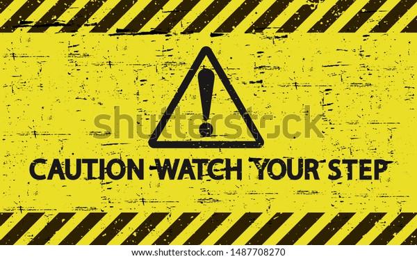 Gelbes Vorsichtszeichen. Pass auf deinen Schritt auf. Bretonischer Hintergrund