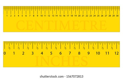 Yellow Centimetre, Centimeter and Inches Original Ruler. Measuring tool, Graduation grid, flat vector illustration. Size indicator units, Measure tape isolated on background.