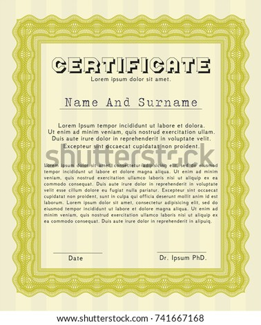 yellow certificate of achievement template complex background customizable easy to edit and change