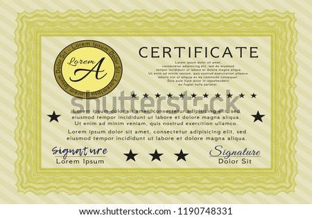 yellow certificate achievement template easy print stock vector