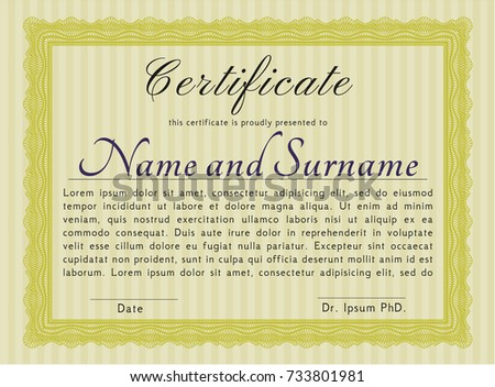 yellow certificate achievement template guilloche pattern stock