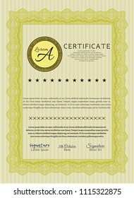 Yellow Certificate. Beauty design. Customizable, Easy to edit and change colors. Easy to print.