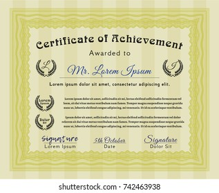 Yellow Certificate diploma or award template. Excellent design. Printer friendly. Vector illustration.