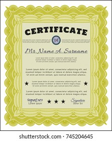 Yellow Certificate diploma or award template. Artistry design. Vector illustration. With complex background.