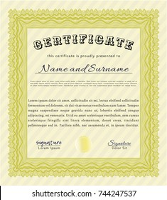 Yellow Certificate or diploma template. With great quality guilloche pattern. Detailed. Beauty design.