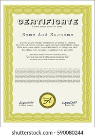 Yellow Certificate. With linear background. Excellent design. Vector illustration.