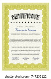 Yellow Certificate. With quality background. Detailed. Retro design.