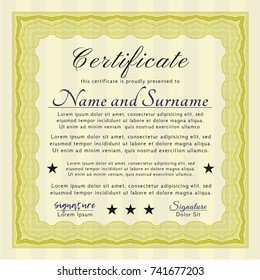 Yellow Certificate template or diploma template. Money style design. Easy to print. Vector illustration.