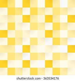Yellow checkerboard square shapes in seamless pattern