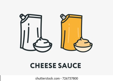Yellow Cheese Sauce Packaging and Bowl Mayonnaise Minimal Flat Line Outline Colorful and Stroke Icon Pictogram
