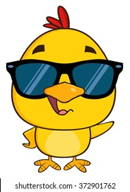 Yellow Chick Cartoon Character Wearing Sunglasses Waving. Vector Illustration Isolated On White