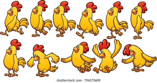 Yellow chicken walk and jump cycle, ready for animation. Vector clip art illustration with simple gradients. Each on a separate layer.
