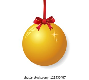 Yellow christmas ball with red bow