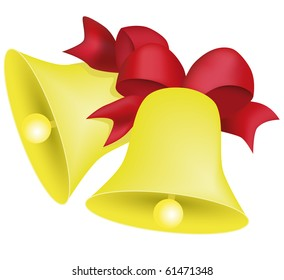 yellow Christmas bell on a white.