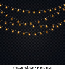 Yellow christmas lights isolated realistic  elements on transparent background. Set of golden xmas glowing garland. Lights for Xmas Holiday greeting card design. Garlands,  party decorations.  Vector