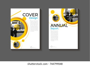 yellow Circle background modern cover design modern book cover abstract Brochure cover  template,annual report, magazine and flyer layout Vector a4