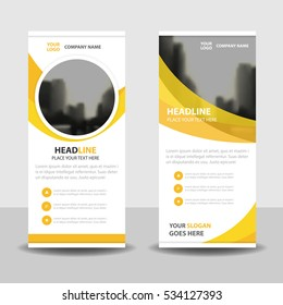 Yellow circle Business Roll Up Banner flat design template ,Abstract Geometric vertical  banner Vector illustration set, presentation brochure flyer