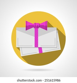 Yellow circle flat vector icon for blank envelope for gift card with pink ribbon bow on gray background with long shadow.