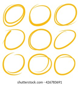 hand drawn circle marker highlighter elements stock vector royalty