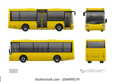 Yellow City Bus template isolated on grey background. Blank City Bus. Passenger Transport for brand identity and advertising design