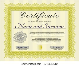 Yellow Classic Certificate template. Nice design. Customizable, Easy to edit and change colors. Easy to print.