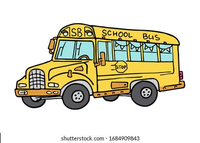 Yellow classic school bus. Side view. American education. Carefully traced details. Cartoon illustration.