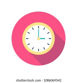 Yellow clock icon vector with shadow on a pink circle background for website design in flat style. Office clock icon, Time icon. Three o'clock. Vector illustration, eps10