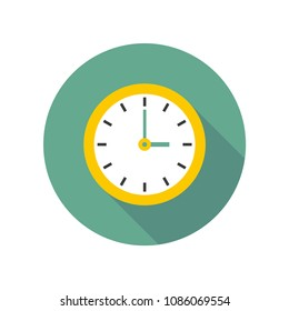 Yellow clock icon vector with shadow on a light green circle background for website design in flat style. Office clock icon, Time icon. Three o'clock. Vector illustration, eps10