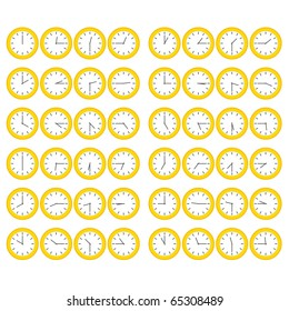 Yellow Clocks Showing All Twelve Hours at Fifteen Minute Intervals