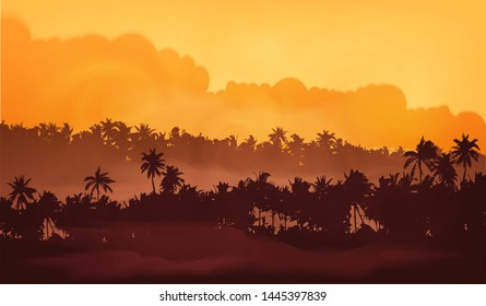 Yellow clouds sunset sky Asian landscape with palm trees forest in fog, vector illustration banner background