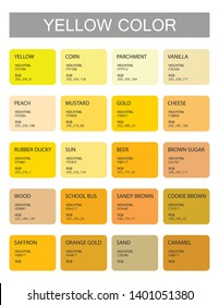 Yellow. Color codes and names. Selection of colors for design, interior and illustration. Poster