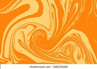 Yellow and color ebru art. Traditional Turkish Ebru technique. Painting on water transferred on highly textured paper or cloth. Color paint ebru with waves and tile pattern. Vector.