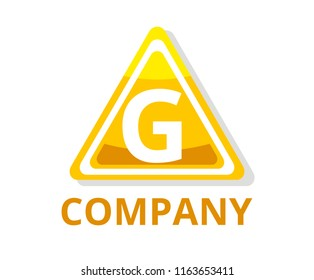 yellow color glasses triangle button web logo graphic design with modern clean style for any professional company with initial type letter g on it
