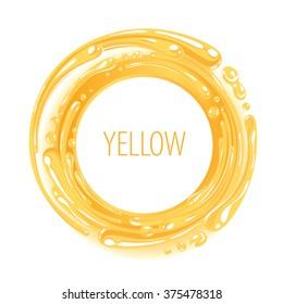 Yellow color ink circle splash twirl vector illustration