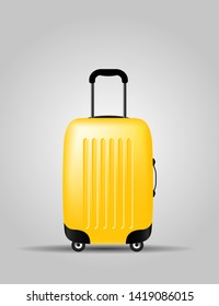 yellow Color plastic travel bag vector illustration. Object.  Summer time, vacation